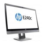 "HP E240c, 23.8"" IPS w/LED backlight, 23.8"" IPS w/LED backlight, 16:9, 7 ms, 1920 x 1080, VGA, DP, HDMI, 3x USB Ports, Speakers + Webcam + Mic, Tilt, Swivel, P"