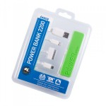 2200mah Emergency Power Bank with 3 in 1 Charging Cable GREEN