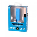 2200mah Emergency Power Bank with 3 in 1 Charging Cable Precision BLUE
