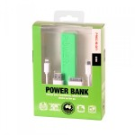 2200mah Emergency Power Bank with 3 in 1 Charging Cable Precision GREEN