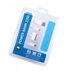 2200mah Emergency Power Bank with 3 in 1 Charging Cable BLUE